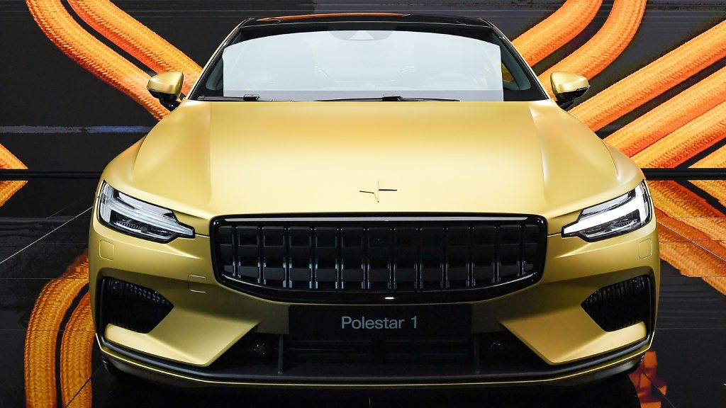 A gold Polestar 1 electric car during the 19th Shanghai International Automobile Industry Exhibition.