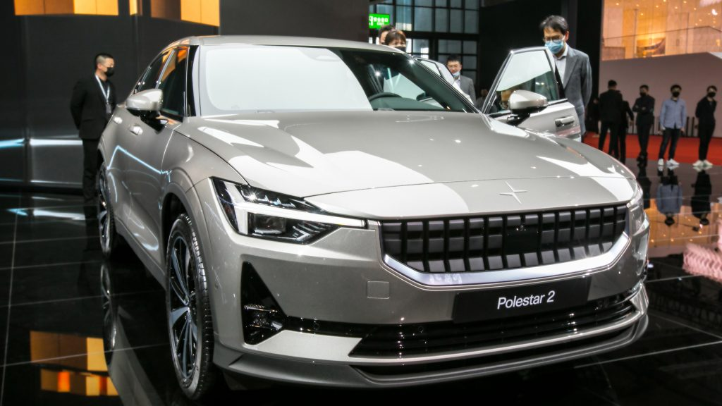 Gray Polestar 2 electric car during the 19th Shanghai International Automobile Industry Exhibition.