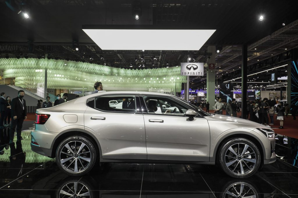 The silver Polestar 2 electric vehicle, manufactured by Polestar AB, jointly owned by Geely Automobile Holdings Ltd. and Volco Car AB, at the Auto Shanghai 2021 show