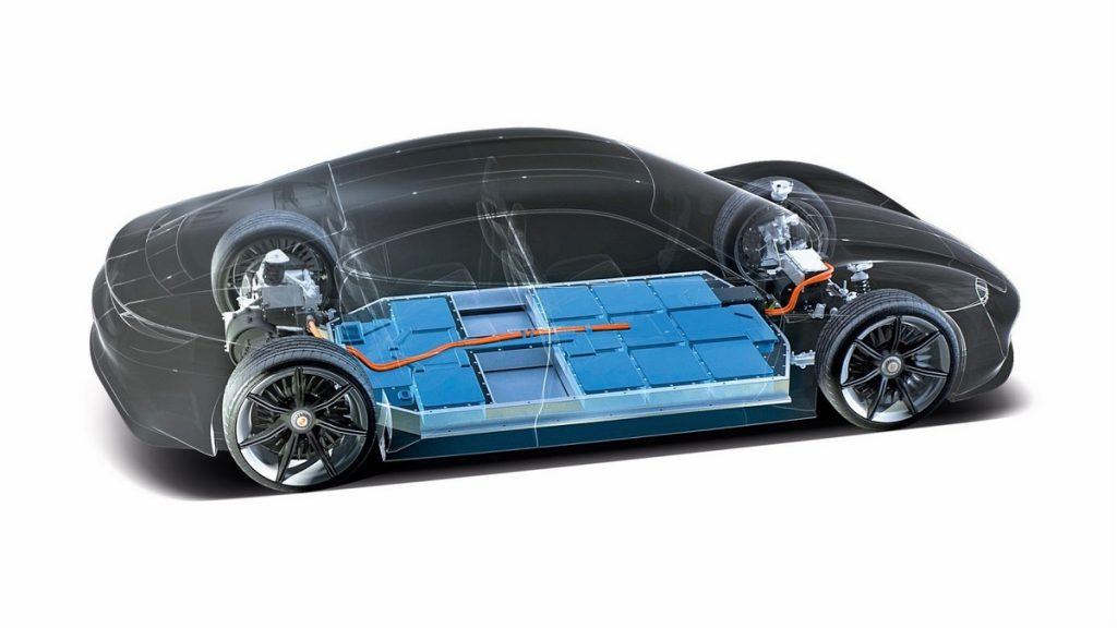 A Porsche with its battery illuminated in blue.