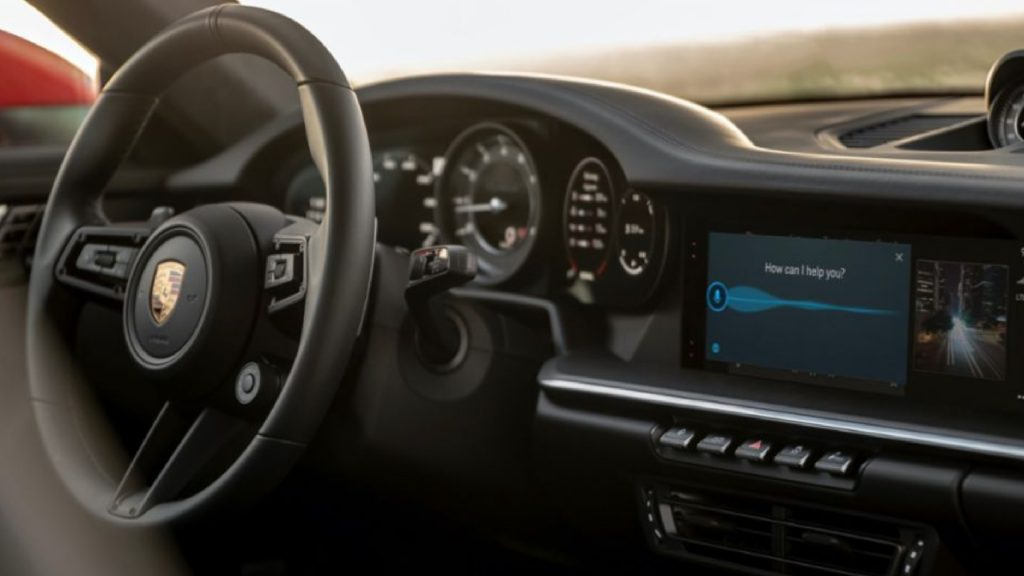 The interior of a Porsche vehicle.