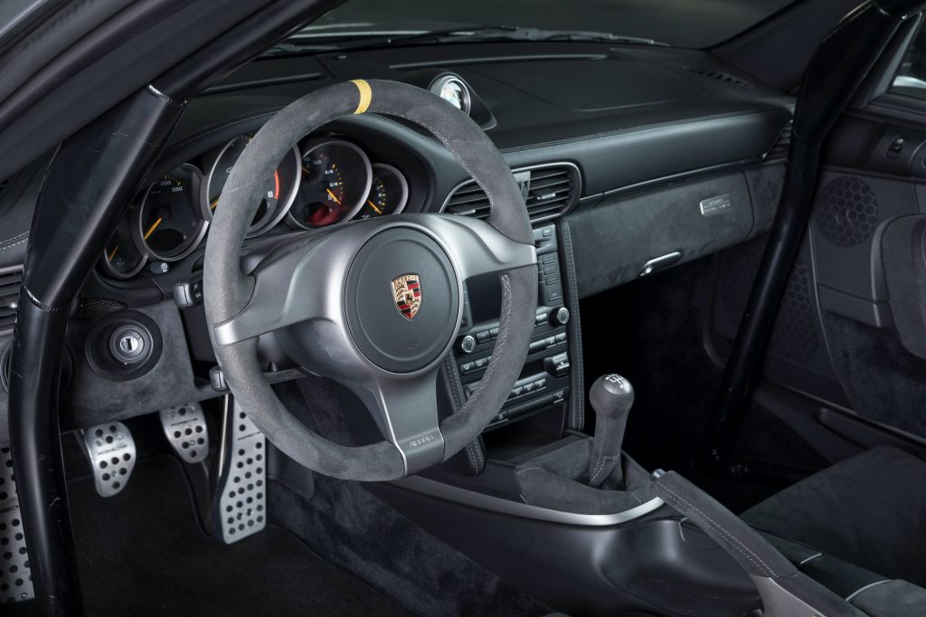Porsche 997 GT2 RS interior featuring a manual transmission