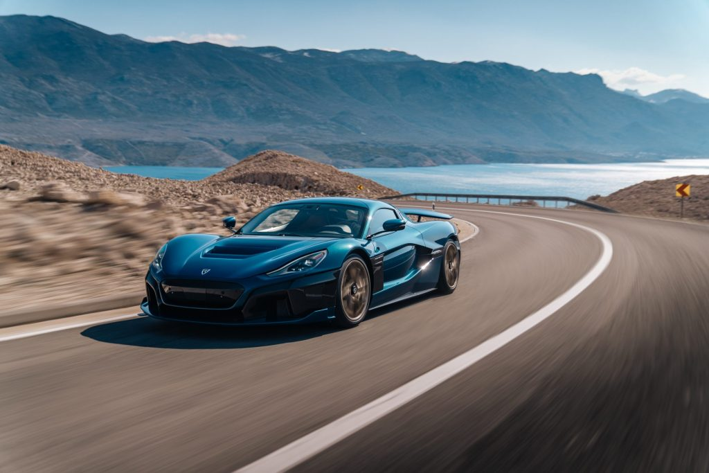 An image of a Rimac Nevera driving outdoors.
