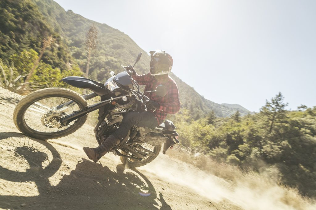 off-road rider tearing it up with a dual-sport