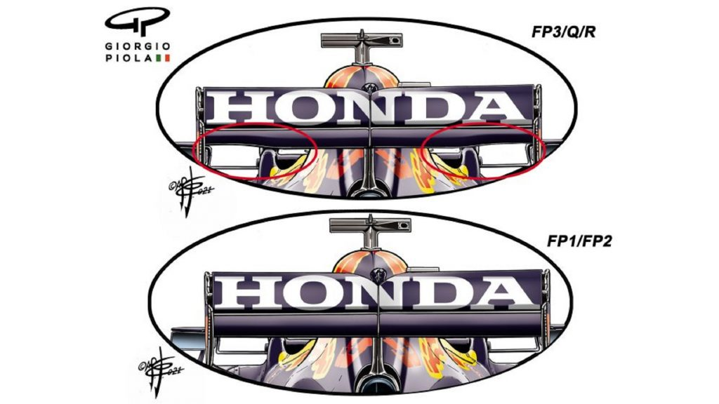 The two rear wing designs used by the Red Bull Honda F1 team during the 2021 Spanish GP