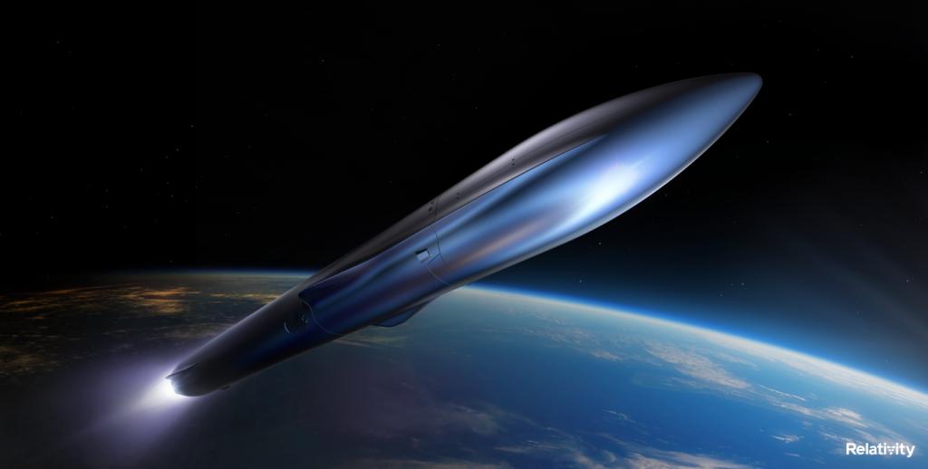 Relativity Space Terran R rocket rendered in space