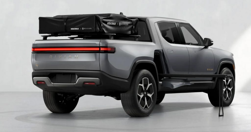 Rivian R1T fitted with roof tent and electric kitchen