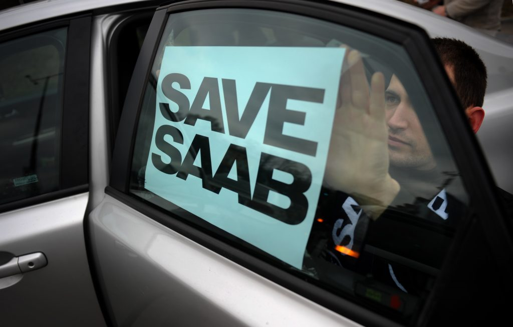 """Save Saab"" sign"