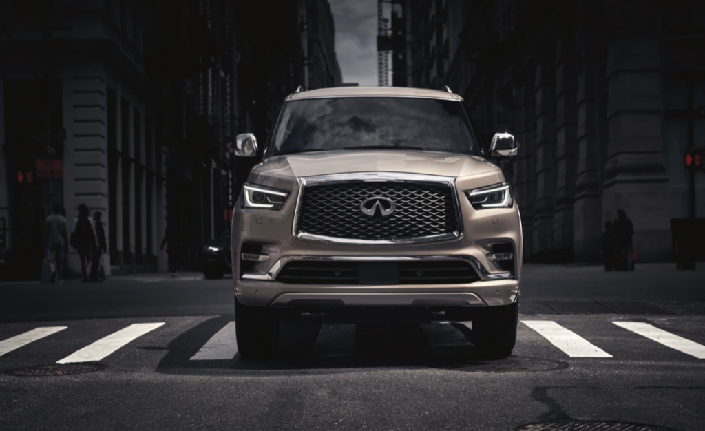 The 2021 Infiniti QX80 driving up the street