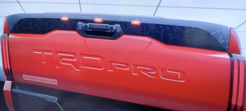 A leaked image of a 2022 Toyota Tundra TRD Pro on a screen.
