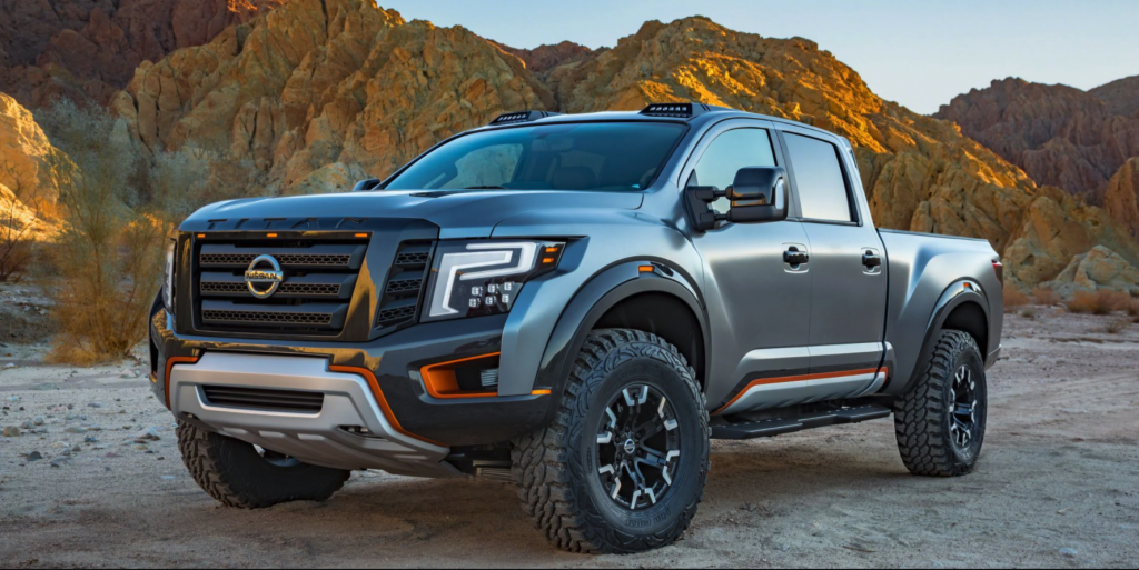 The 2021 Nissan Titan Warrior concept parked outdoors