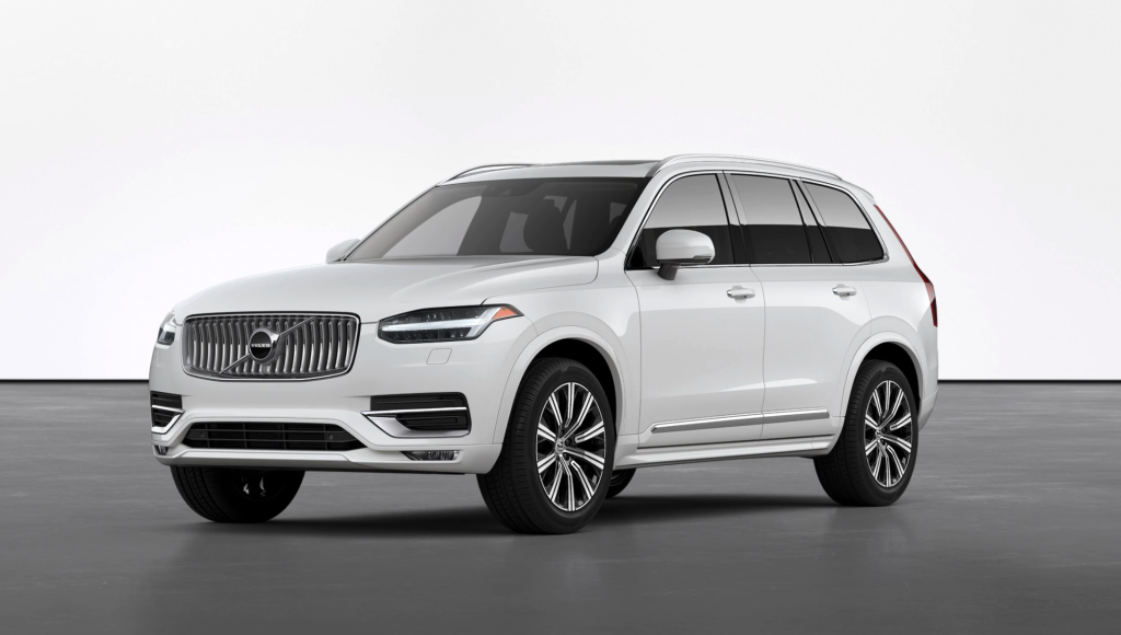 A white 2021 Volvo XC90 on display