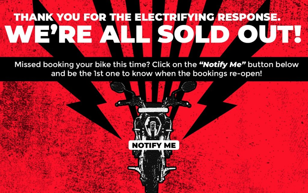 """A red and black """"Sold Out"""" sign on the Revolt Motors website."""