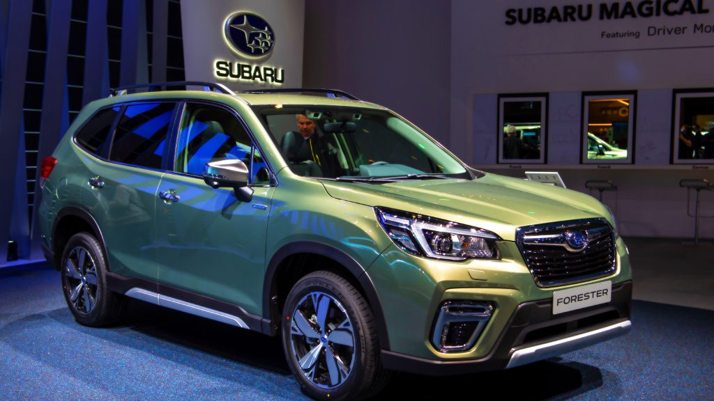 A Green Subaru Forester is displayed during the second press day at the 89th Geneva International Motor Show.