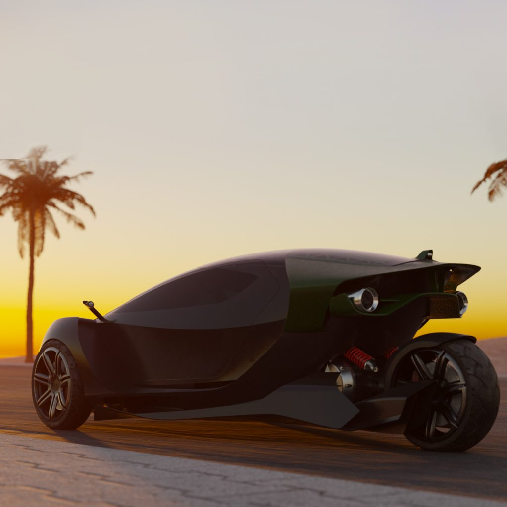 The rear view of the 3-wheeled Daymak Spiritus