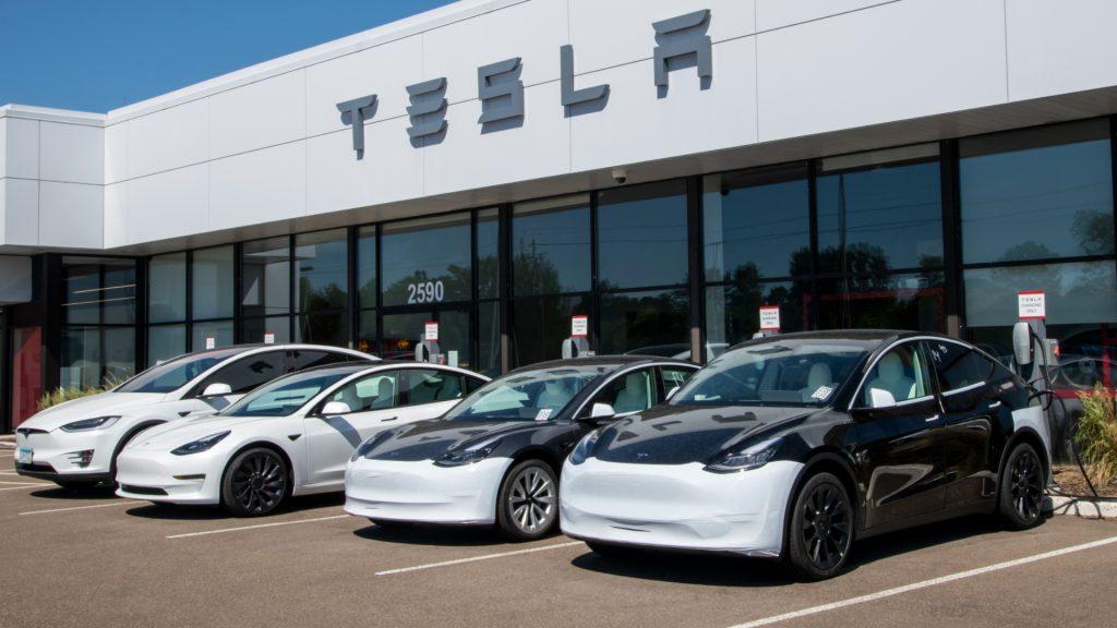 A Tesla car dealership.