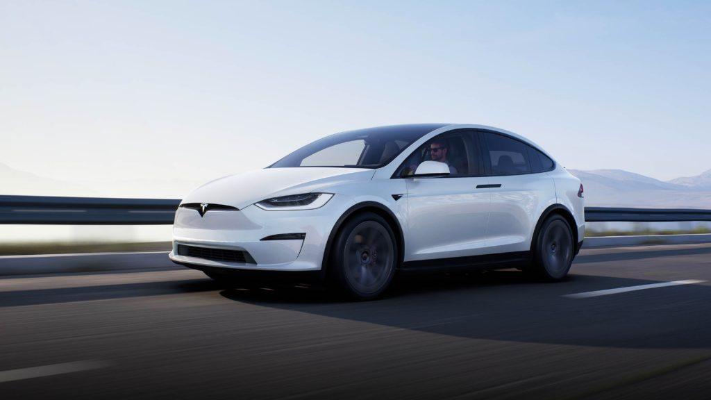 A white Tesla Model X.