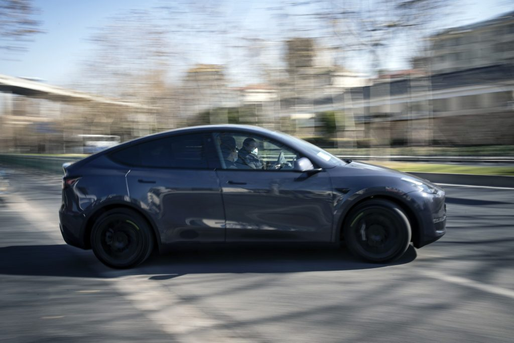The Tesla Model Y on the move
