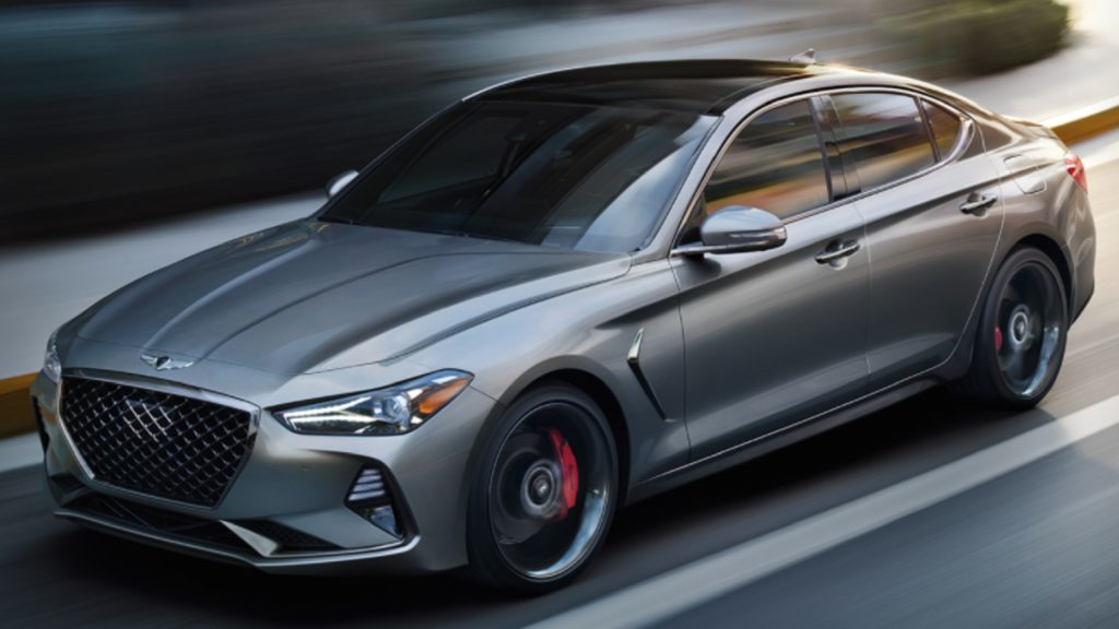 A gray 2021 Genesis G70 luxury sedan.