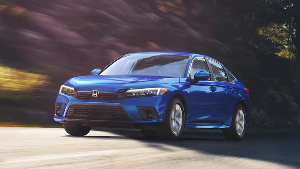 a blue 2021 Honda Civic in action