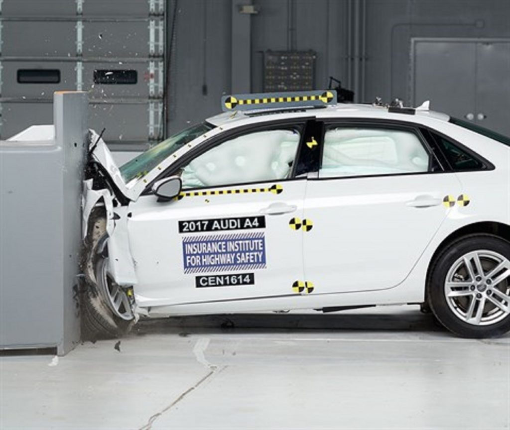 An Audi A4 being crash tested | IIHS
