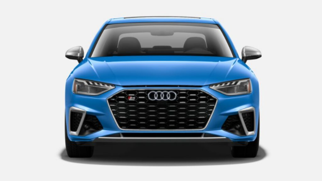 A blue Audi S4.