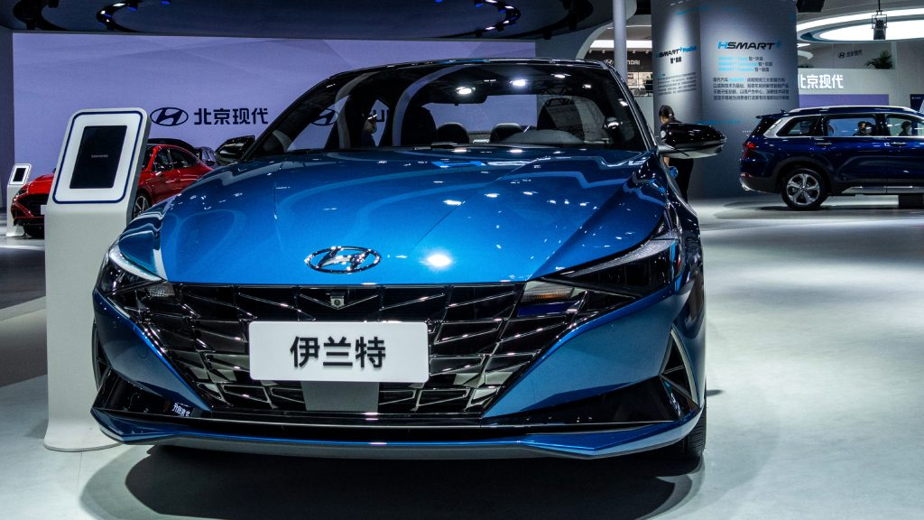 A blue Hyundai Elantra car is on display during the 19th Shanghai International Automobile Industry Exhibition.