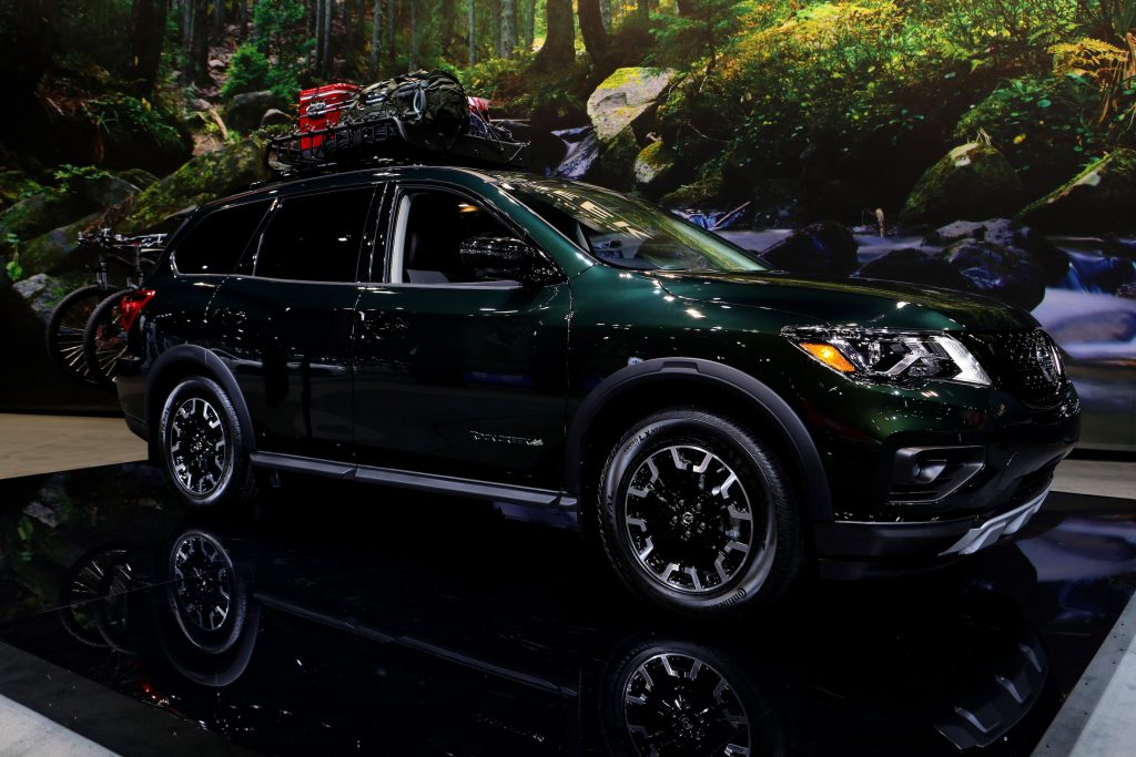 Green 2019 Nissan Pathfinder Rock Creek Edition is on display at the 111th Annual Chicago Auto Show