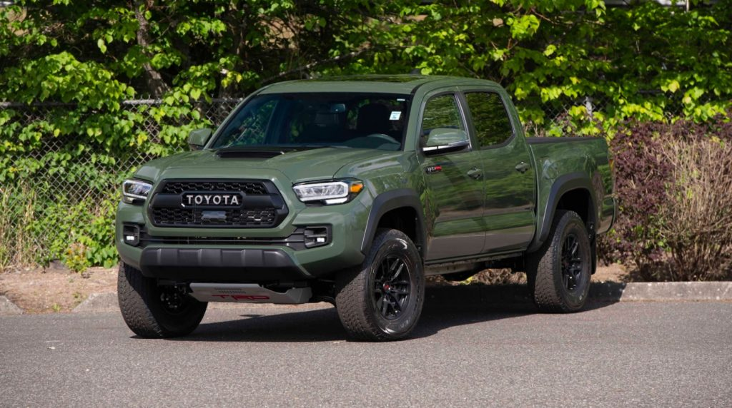 A green 2020 Toyota Tacoma TRD Pro, in a parking lot