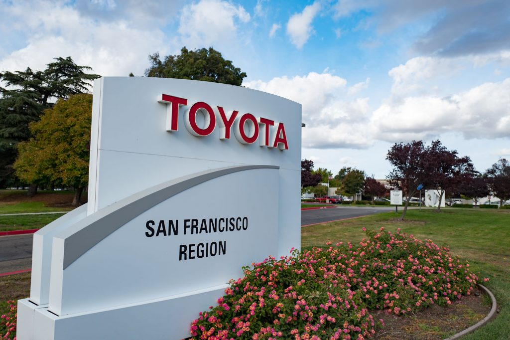 The sign outside the Toyota San Francisco regional headquarters
