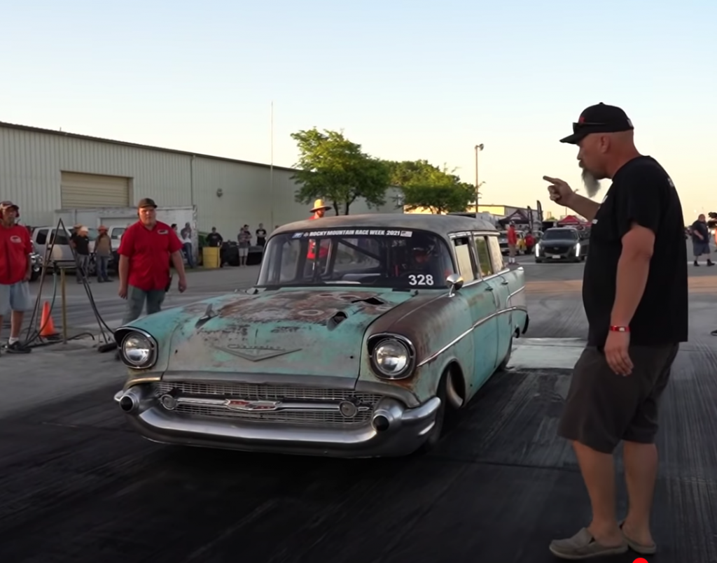 Tom and Aydan Bailey 1957 Chevy staging