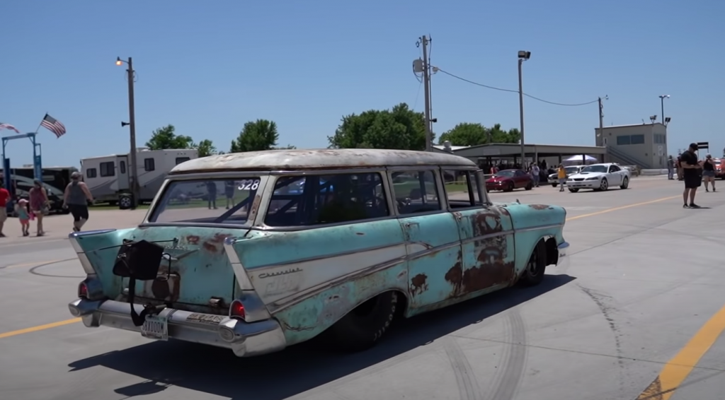 Tom and Aydan Bailey 1957 Chevy Drag Week rear 3/4 view