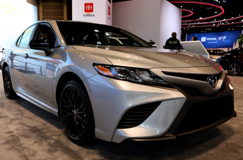 2020 Toyota Camry Hybrid is on display at the 112th Annual Chicago Auto Show