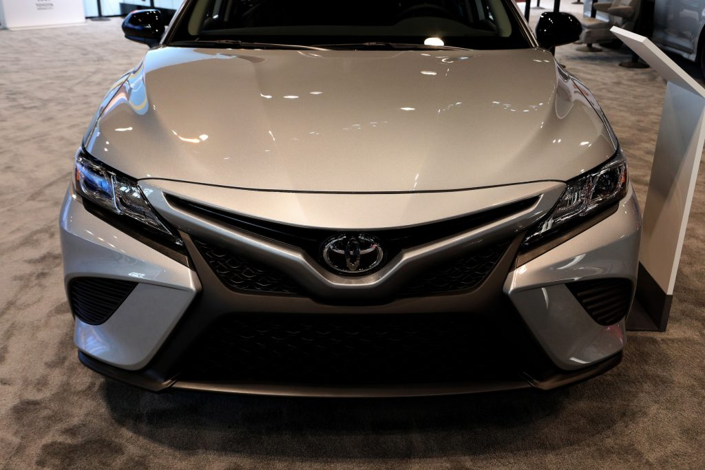 Silver 2020 Toyota Camry Hybrid is on display at the 112th Annual Chicago Auto Show at McCormick Place