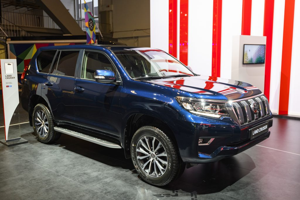 Blue Toyota Land Cruiser off road SUV on display at Brussels Expo