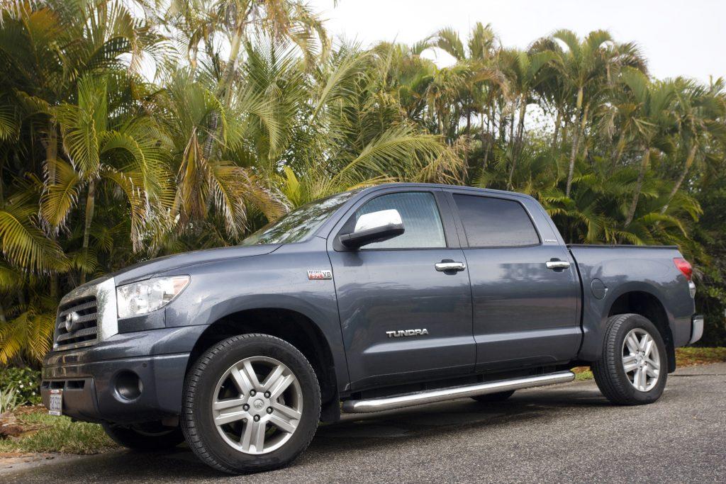A blue Toyota Tundra off-road pickup truck