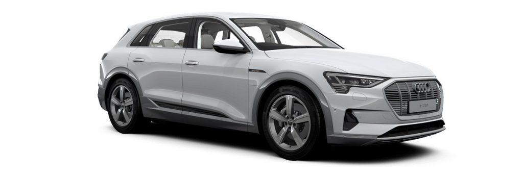 A silver Audi e-tron against a white background. The U.K. e-tron uses camera based mirrors.