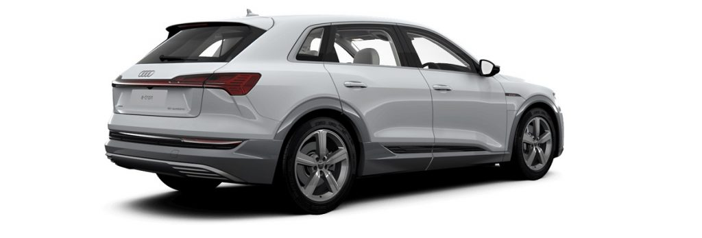 A white U.K. version of the Audi e-tron.