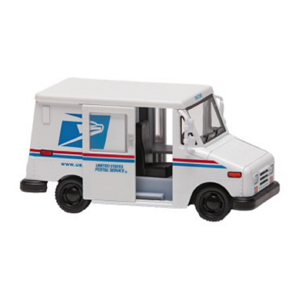 A replica of a USPS postal truck. EVs cost less to maintain than gas powered vehicles.