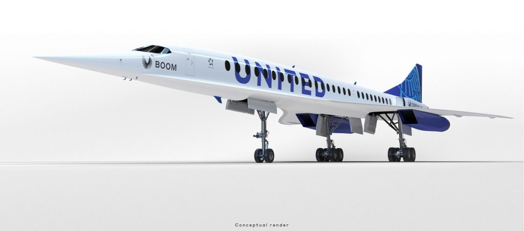 A white airplane with the word United printed on the side in blue.