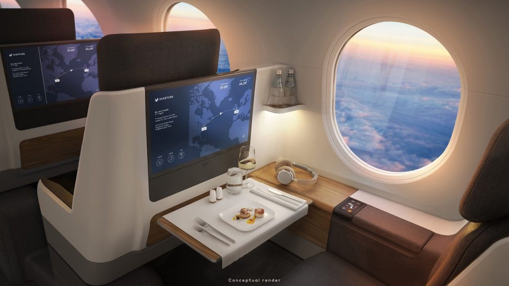 The luxurious interior of an airplane.