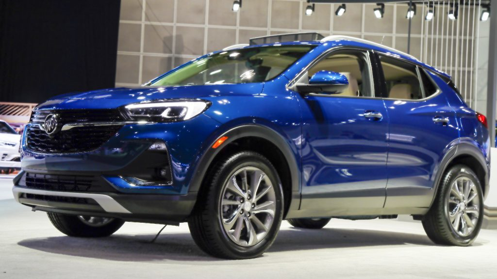 A blue Buick Encore GX vehicle sits on display during AutoMobility LA ahead of the Los Angeles Auto Show in Los Angeles, California.