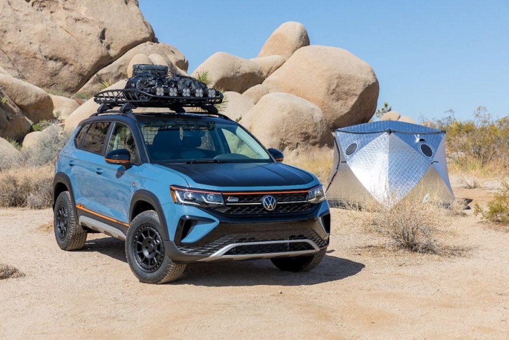 Volkswagen Taos Basecamp concept parked in the desert