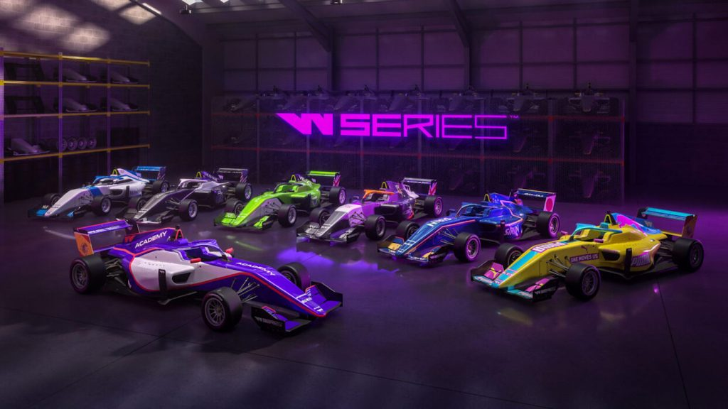 W series cars lined up for promotional photo for the women-only racing series. The female race car drivers are going to change the game