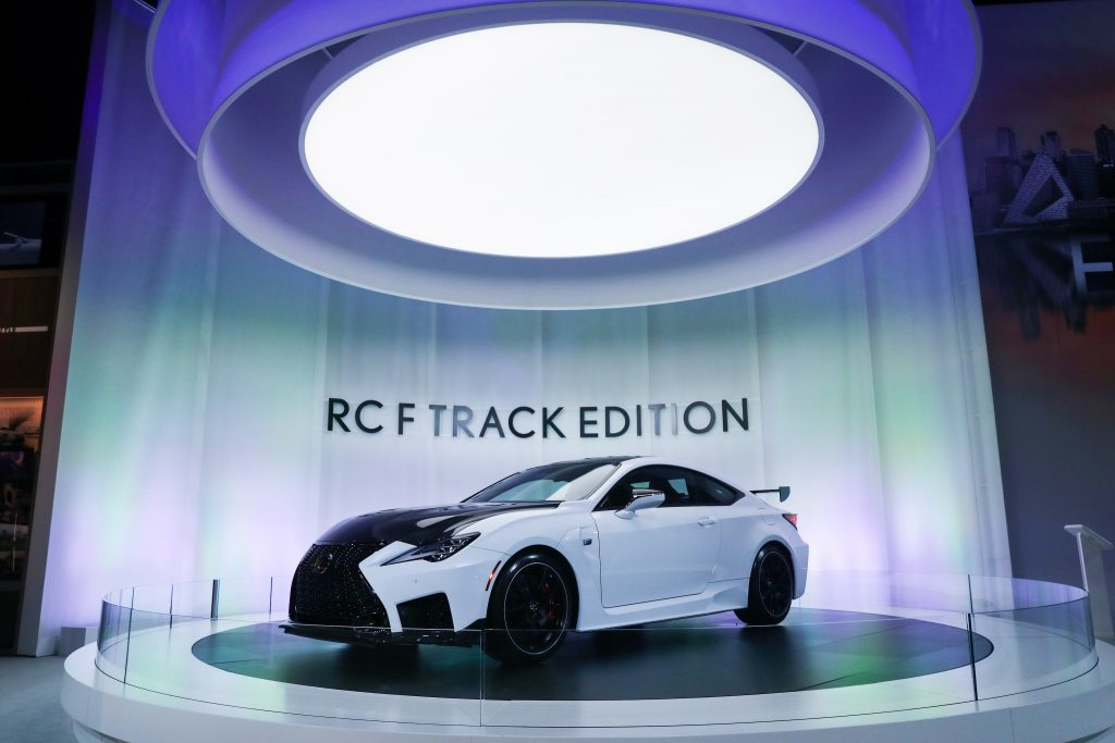White Lexus RC F Track Edition is on display during the New York International Auto Show
