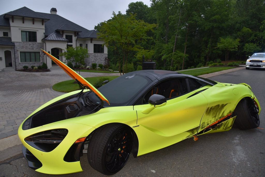 This wrecked McLaren 720 belongs to Thomas Davis but was stolen and then crashed