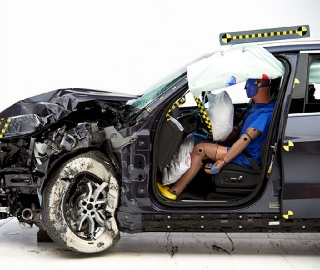 A BMW is crash-tested. Hundreds of people are killed in disabled car accidents every year.