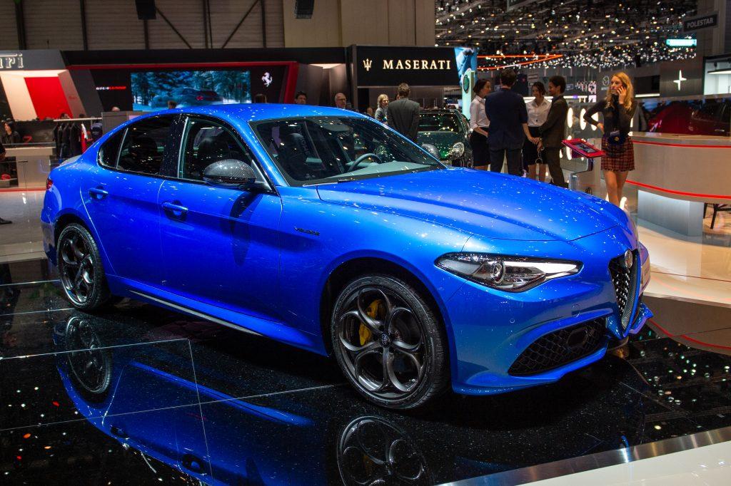 blue Alfa Romeo Guilia on display at the auto show