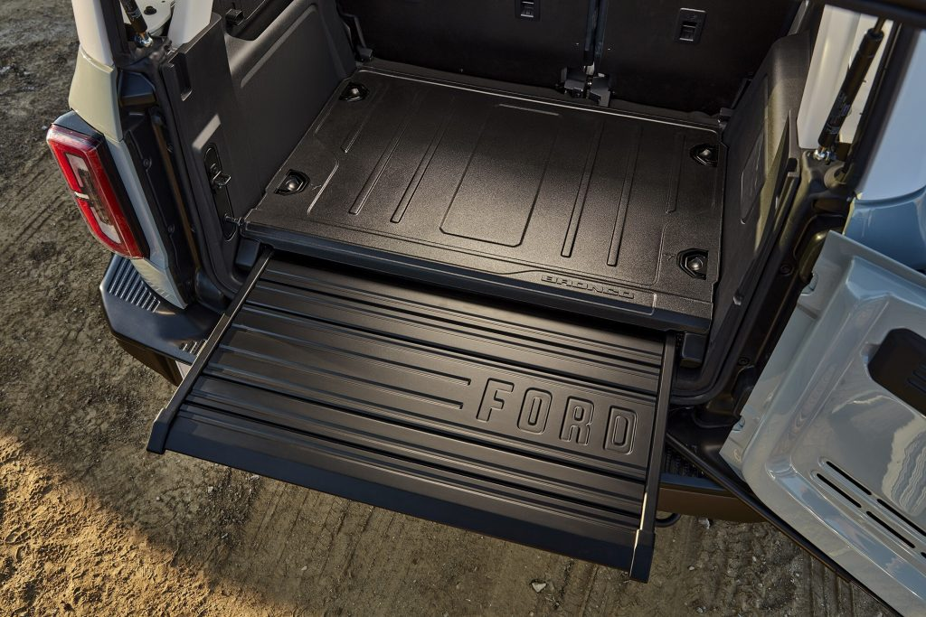 The rear extending bed of the Bronco