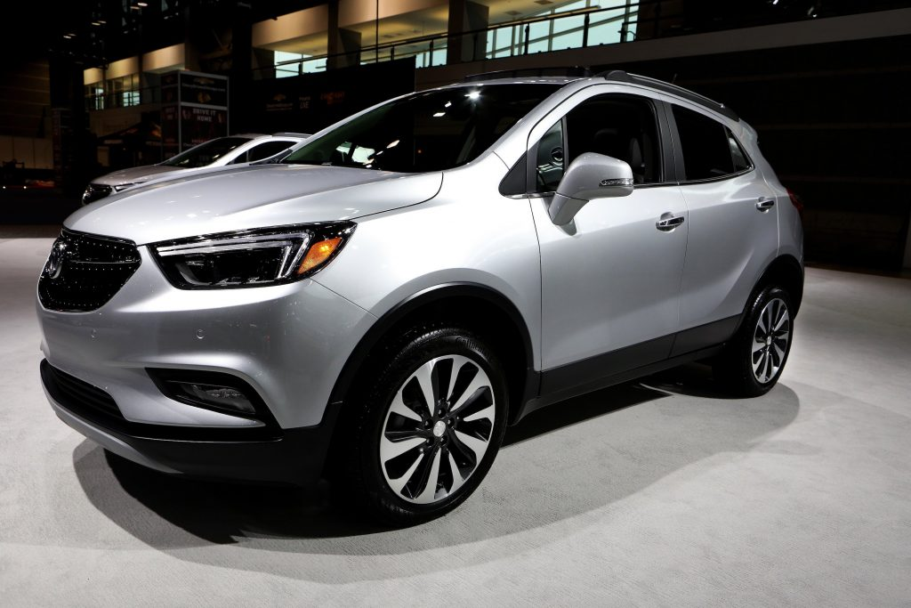 A silver Buick Encore SUV on display